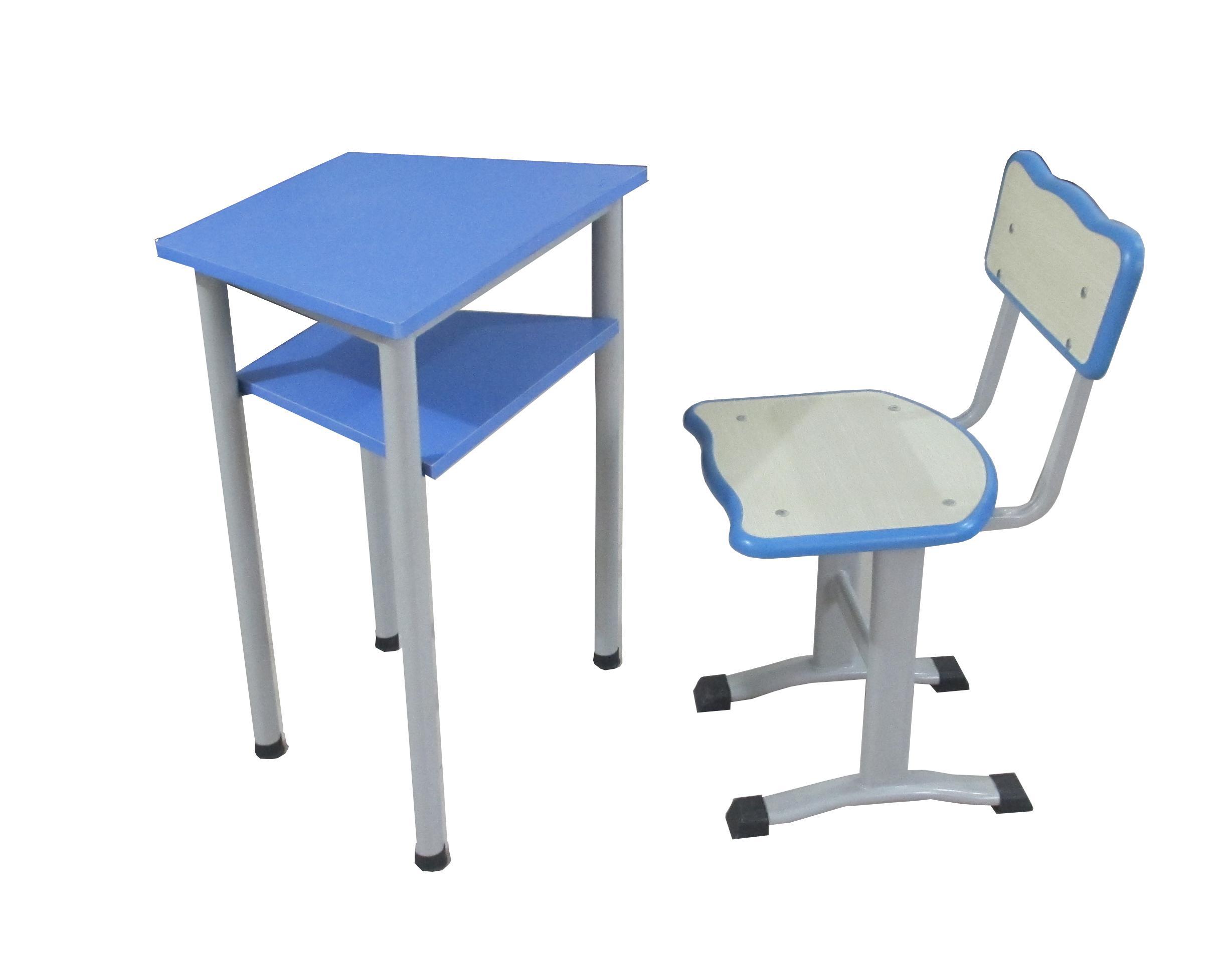 双层斗课桌椅注塑封边钢木学生课桌HX-K003