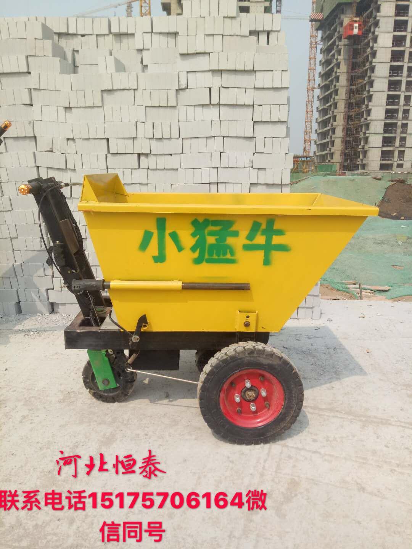 河北厂家生产工地运输神器小猛牛800w带自卸灰斗车