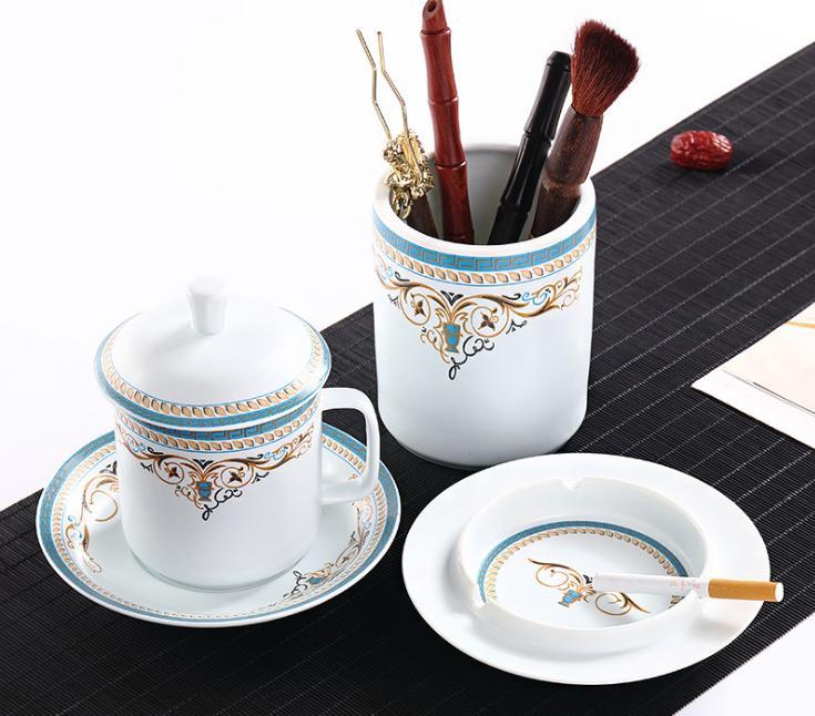 景德镇茶杯套装 办公用品三件套 家居用品三件套送礼佳品