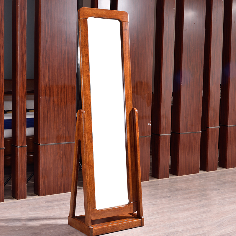 万家达全实木穿衣镜纯胡桃木卧室配套高端轻奢落地全身穿衣镜子