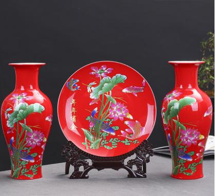 臺面陶瓷三件套 家居擺件 辦公室裝飾品