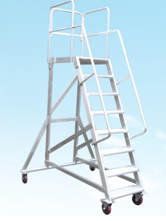 定制铝合金梯子仓储货架梯可移动登高平台升降工作平台