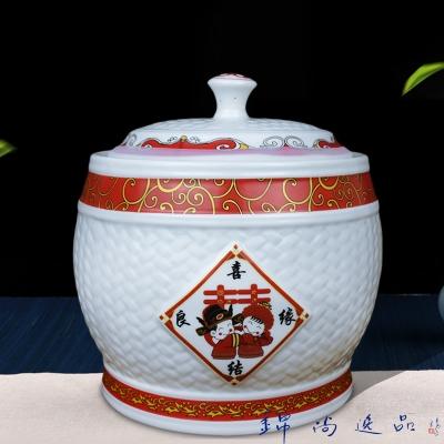 厨房储米箱密封腌泡菜咸菜罐 防潮防虫储面粉大米罐陶瓷10斤米缸