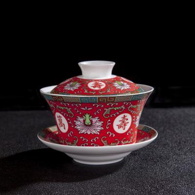 龍鳳雙喜蓋碗三才碗結婚敬茶杯婚慶敬茶碗陶瓷紅蓋碗泡茶器茶杯
