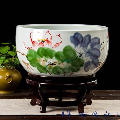 大开口花盆手绘牡丹聚宝盆阳台植物盆栽工艺品陶瓷聚宝盆