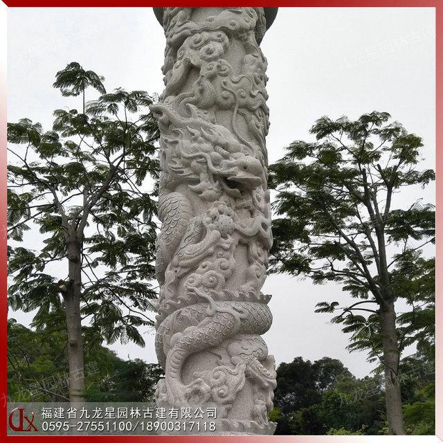 花岗岩石雕祥云龙柱 园林广场石雕龙柱文化柱雕刻的意义