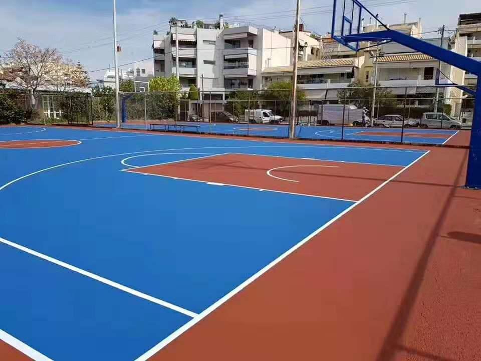 广西贵港橡胶硅PU球场铺设 篮球场上门铺装