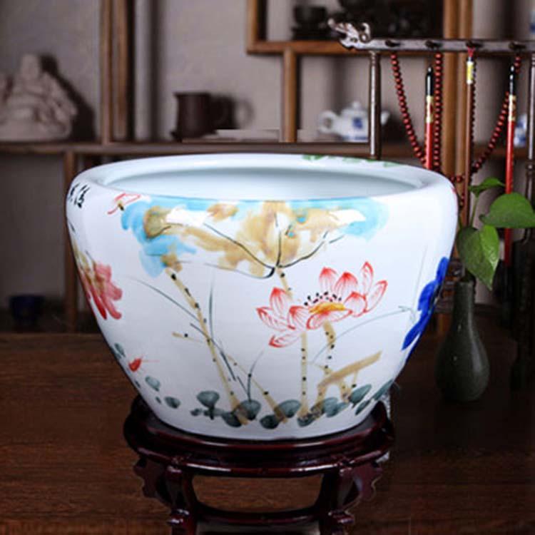 景德镇陶瓷大号养鱼缸碗睡莲缸风水鱼缸颜色釉雕刻鱼缸乌龟睡莲缸