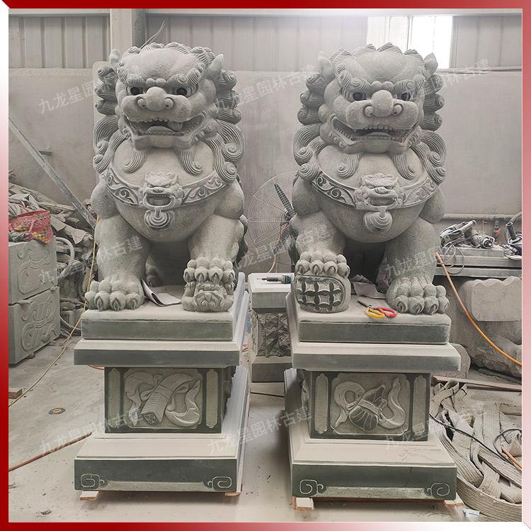 雕刻古獅子 霸氣石獅子圖片頭像 青石獅子價格