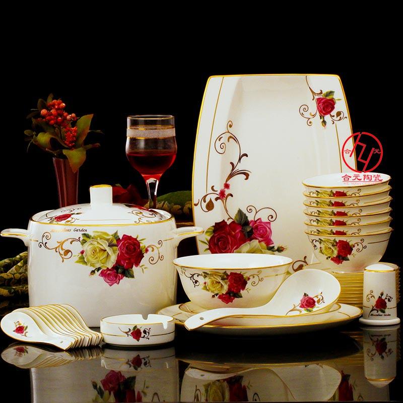 景德镇骨瓷餐具供应厂家,定制年会礼品骨瓷餐具套装