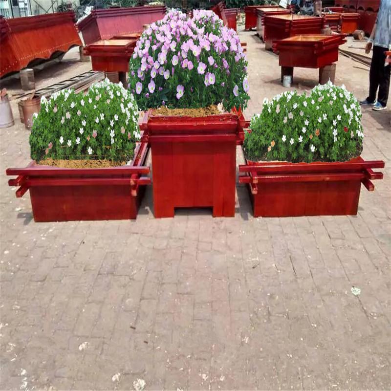 山西阳泉防腐木景观花箱——户外绿化种植木质花盆