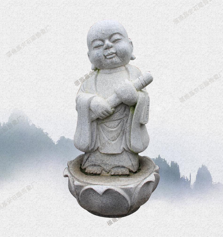 山西户外小沙弥工艺品摆件 石雕小和尚供货厂家