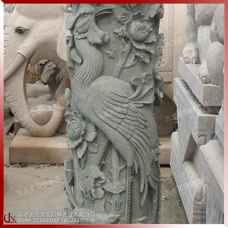 石頭柱子雕刻鳳凰圖片 廣場擺放石雕龍鳳柱 石材裝飾圓柱定制
