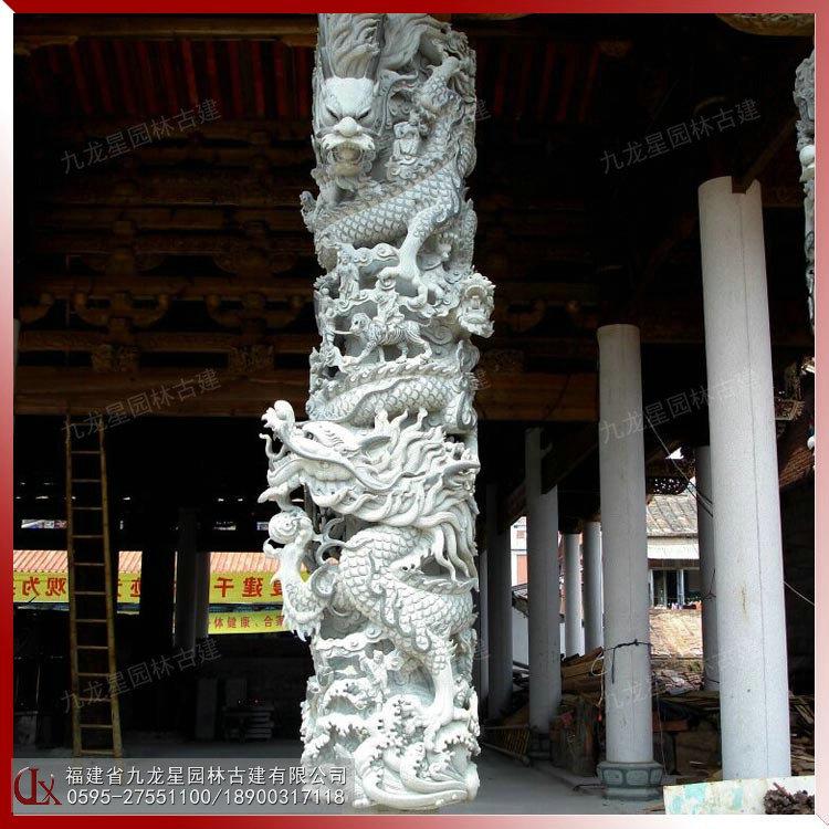 浮雕龍柱 古建筑石雕龍柱 精品龍柱雕刻圖片