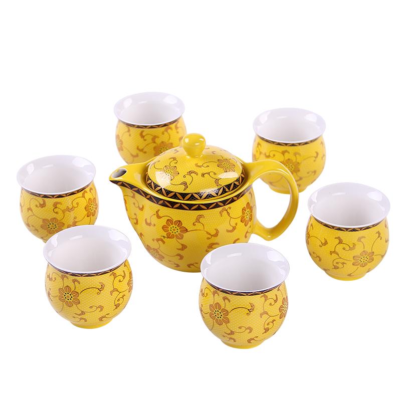 七件套青花陶瓷雙層功夫茶具禮盒 茶壺套裝禮品定製logo