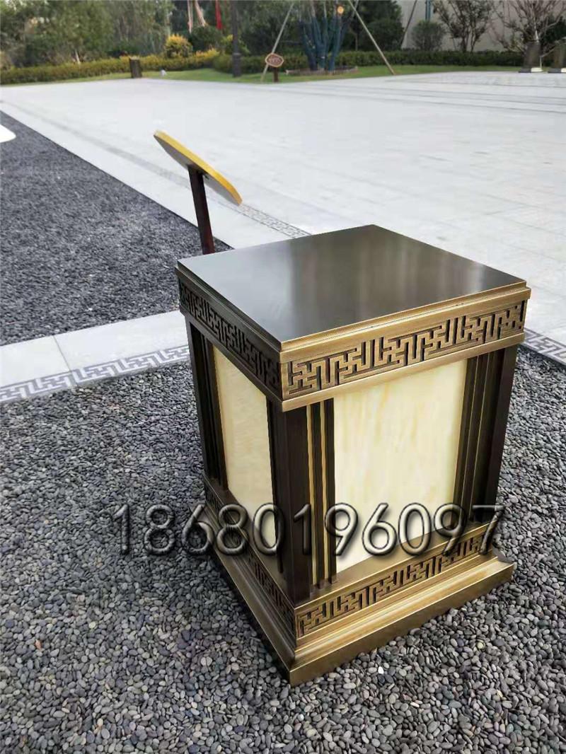 鍍銅拉絲燈箱仿云石柱頭燈不銹鋼防水矮柱燈定做