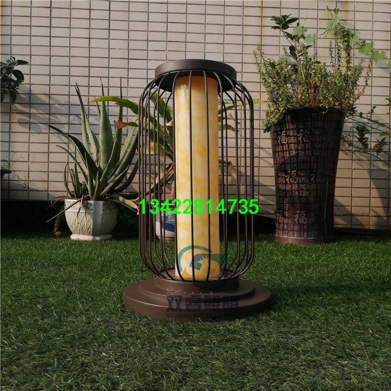售楼部水景柱子灯特色鸟笼灯户外防水草坪灯铁艺圆形灯