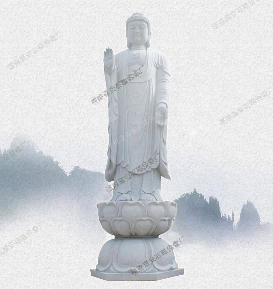 沭阳石雕佛像 生产石雕西方三圣图片石雕弥勒佛佛像