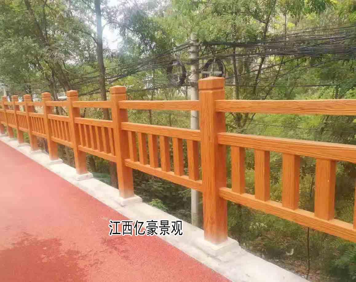 福建仿木圍欄福州河道護欄安裝,廈門水泥仿木欄桿模具廠家生產