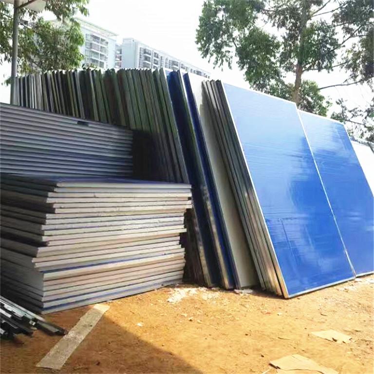 工地外墙用蓝白色泡沫挡板, 广西彩钢工地隔离临时围挡