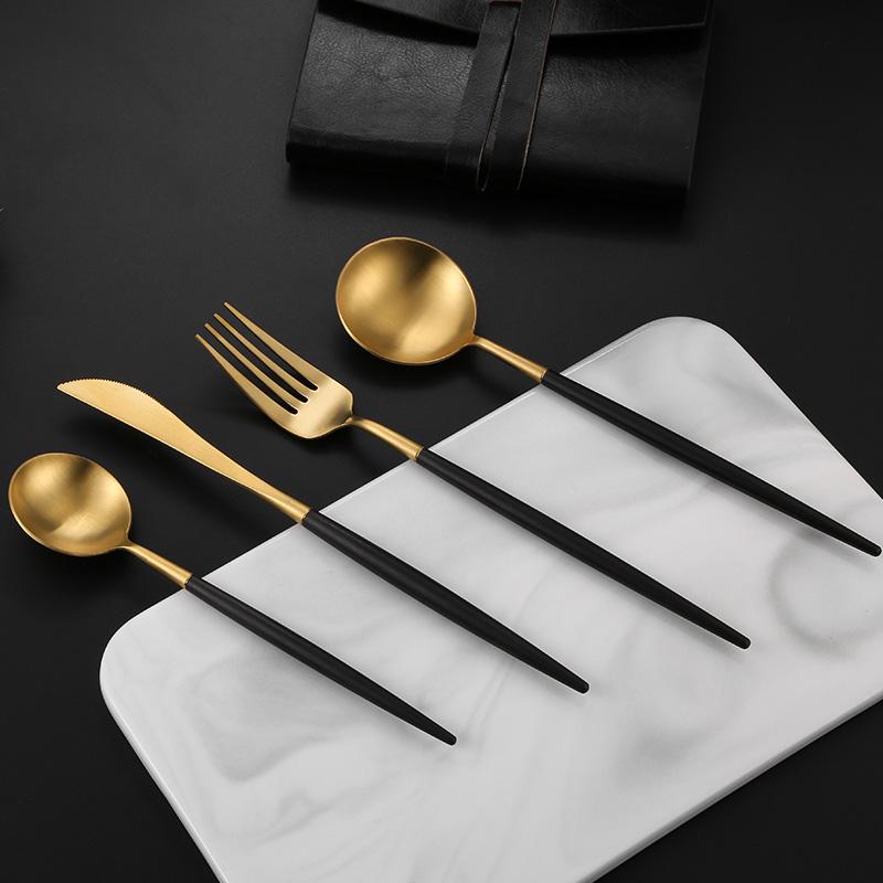 银貂新品 Leon亚瑟304不锈钢刀叉勺简约个性镀金西餐餐具定制礼品
