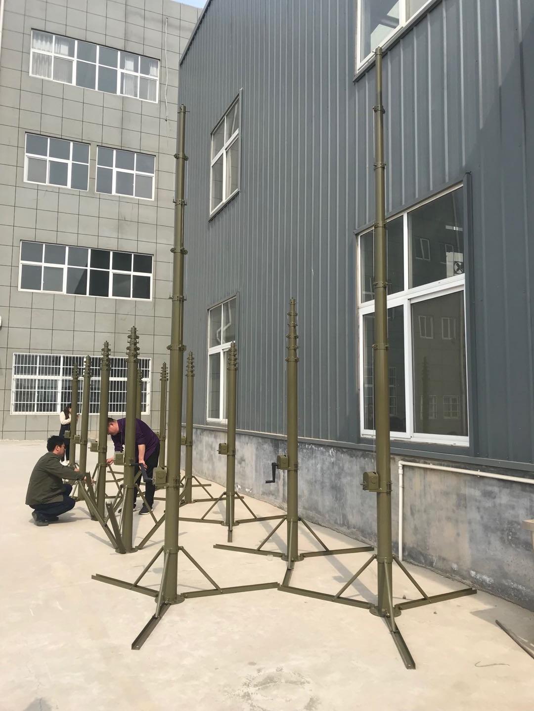12米手动野战升降避雷针升降杆部队野战餐厅帐篷避雷针安装方案
