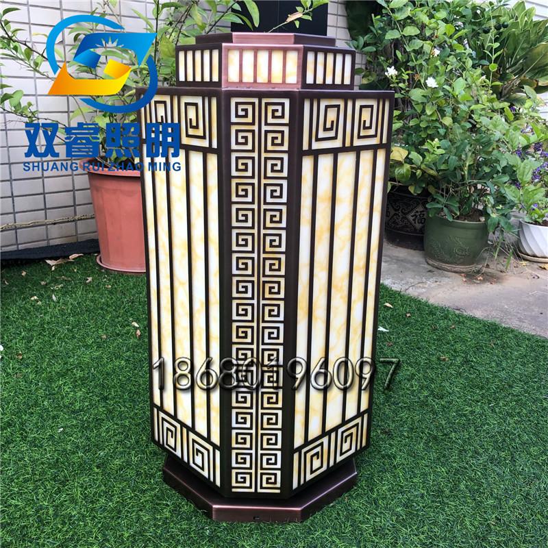 镀铜拉丝柱头灯户外防水高端柱头灯人造云石高端草坪灯别墅庭院草坪灯