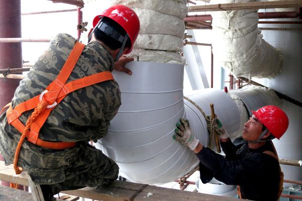 防火硅酸铝管道保温工程设备铁皮保温施工
