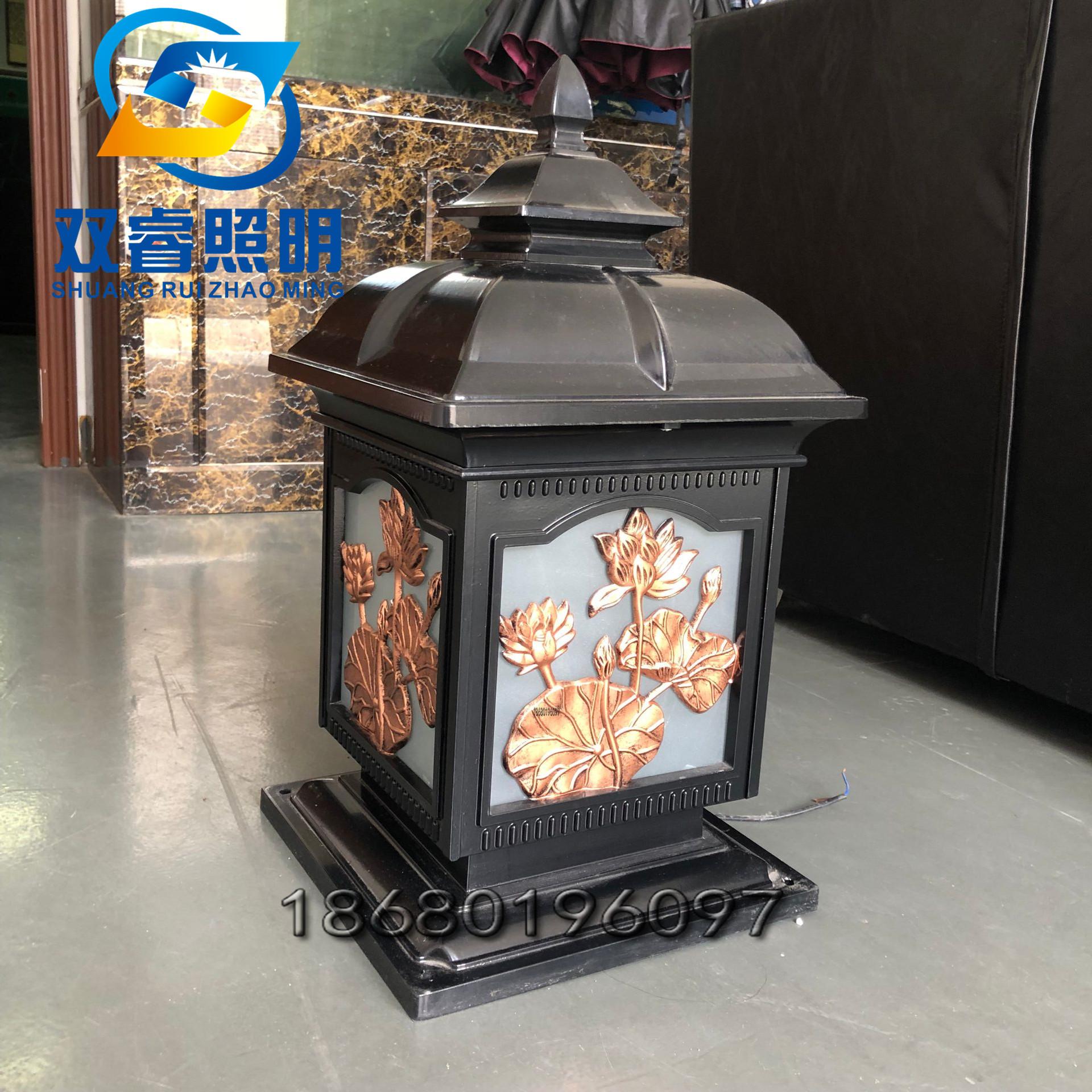 户外定制大门石墩柱子灯莲花创意柱头灯中式特色柱头灯