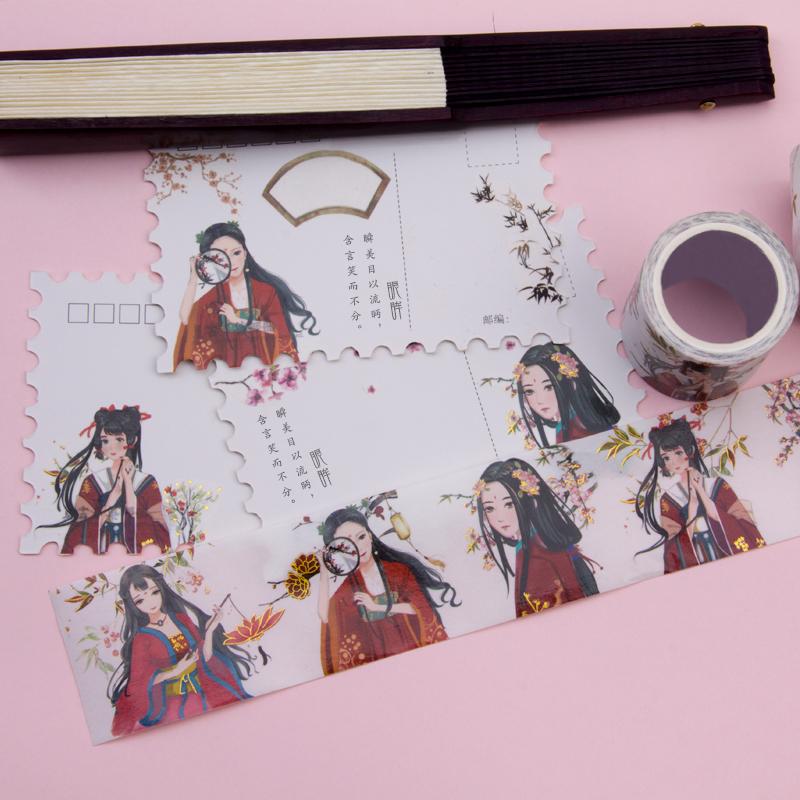 来图定制中国古风红装俏丽少女人物款手帐胶带