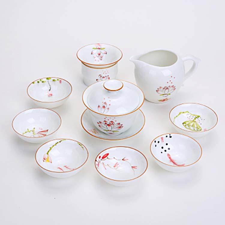景德镇手绘荷花商用礼品茶具套组盖碗茶杯整套功夫茶具定制logo