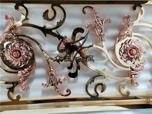 昆明酒店铜艺楼梯 纯铜雕花楼梯护栏 效果图