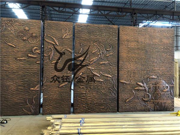 古铜色铝板浮雕屏风 佛山铝板雕刻山水画浮雕