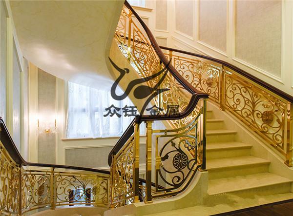 星级酒店大堂楼梯铝艺雕刻护栏 雕刻K金护栏气派