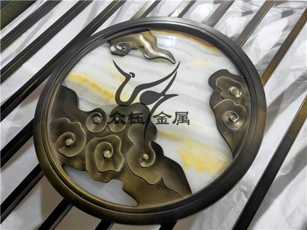 许昌铝板雕刻浮雕祥云屏风 铝板雕刻山水画隔断