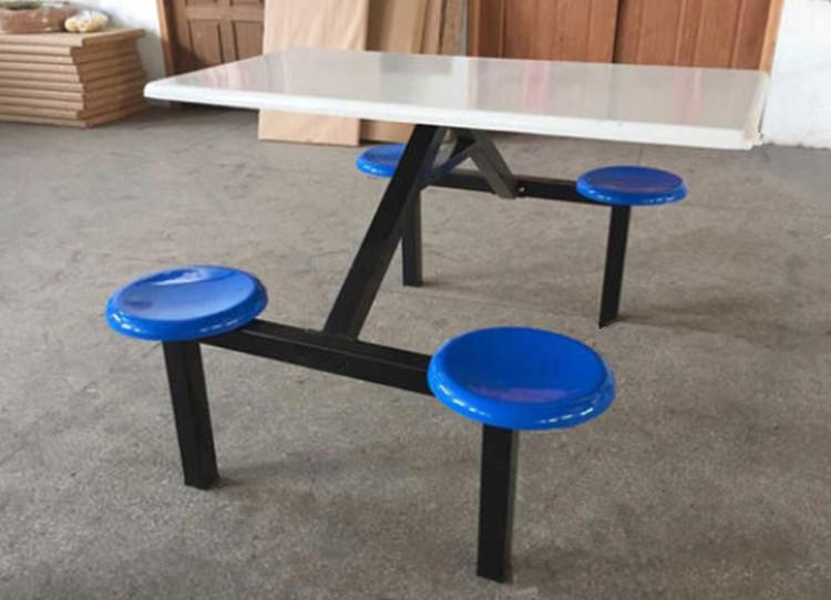食堂4人圆凳餐桌椅 东莞康胜餐桌厂家 食堂四人餐桌椅