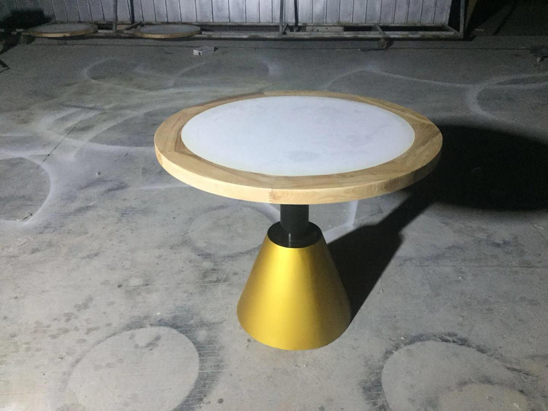 供應大理石圓桌 實木包邊圓桌可尺寸定制