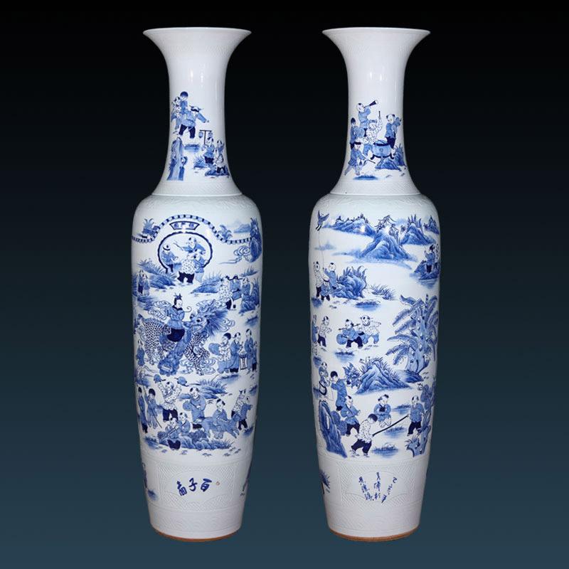 別墅門廳擺設陶瓷大花瓶定制,景德鎮青花手繪落地大花瓶生產廠家