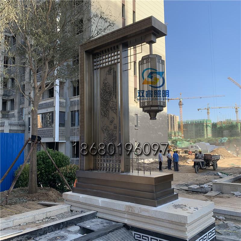 青古銅拉絲庭院燈電鍍仿銅屏風燈現代中式景觀燈