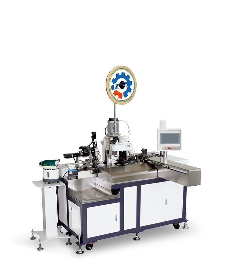 廠家直銷全自動單頭插殼機 自動端子機 剝皮壓著沾錫穿膠殼機