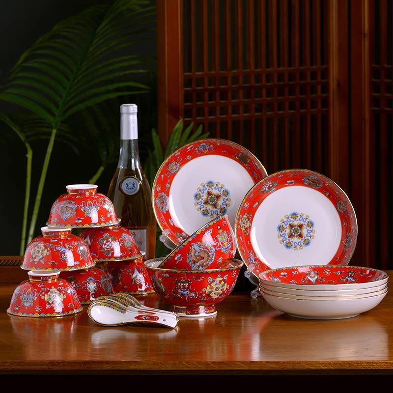 定制陶瓷餐具节日礼品套装,景德镇陶瓷餐具答谢客户礼品盒生产厂家