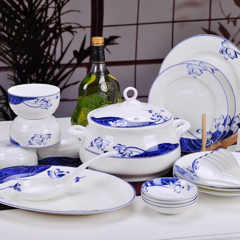 定制青花仿古釉中彩餐具,景德鎮耐高溫餐具碗盤勺套裝生產廠家