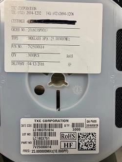 TXC晶振实力现货仓库,7V25000014晶振