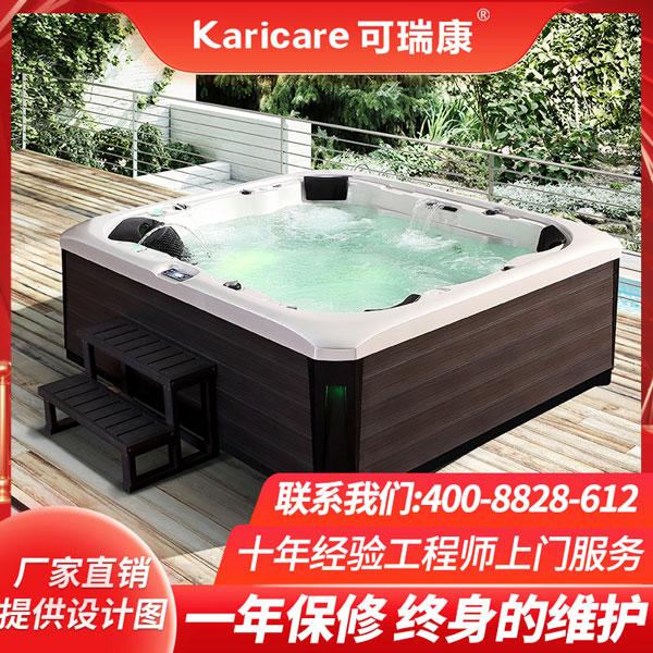 户外亚克力恒温加热泳池浴缸室外庭院冲浪按摩SPA泡池温泉浴池
