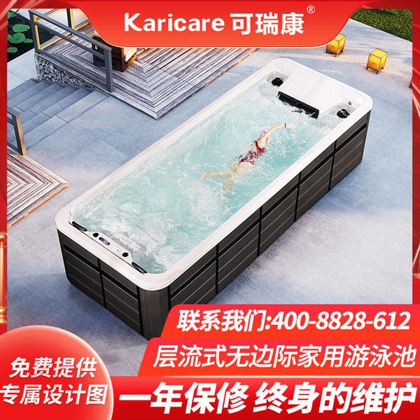 别墅花园泳池无边际冲浪按摩泳池浴缸户外智能恒温无尽头游泳池