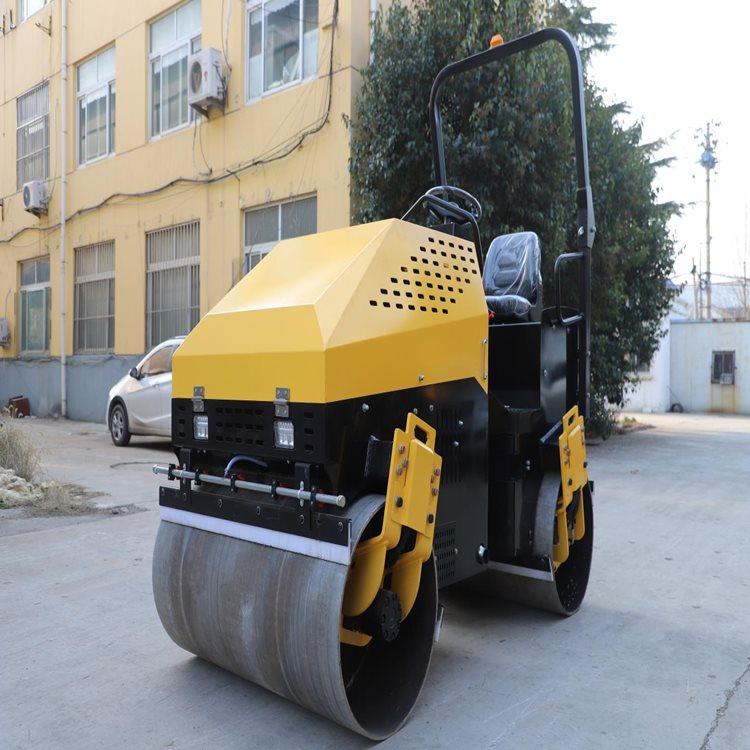 出售壓路機草坪溝槽壓實機座駕式雙輪壓路機