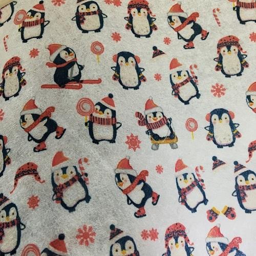圣诞小企鹅雪花款 超cute卡通图案  印花无纺布(可订制)