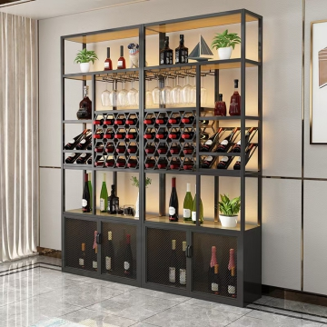 现代不锈钢酒柜轻奢酒窖酒架酒店别墅大厅金属展示柜装饰定制