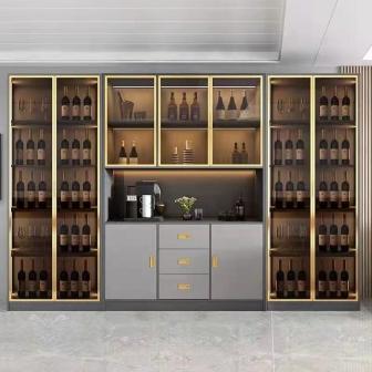 酒柜靠墙客厅现代简约落地钢化玻璃酒柜小型轻奢收藏柜透明展示柜