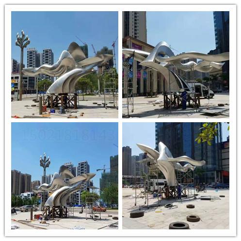 信阳城市景观抽象不锈钢鸟雕塑 拉丝效果飞鸟雕塑设计